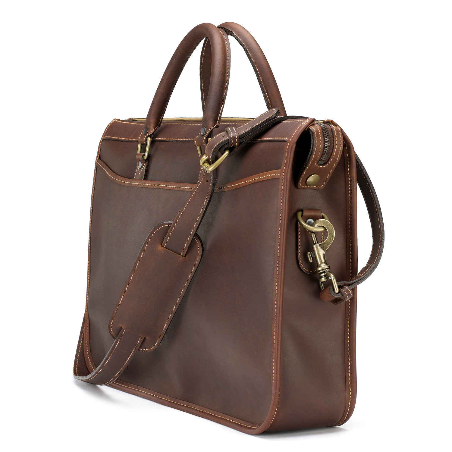 Tusting Marston Leather Briefcase in Sundance Floodlight Leather