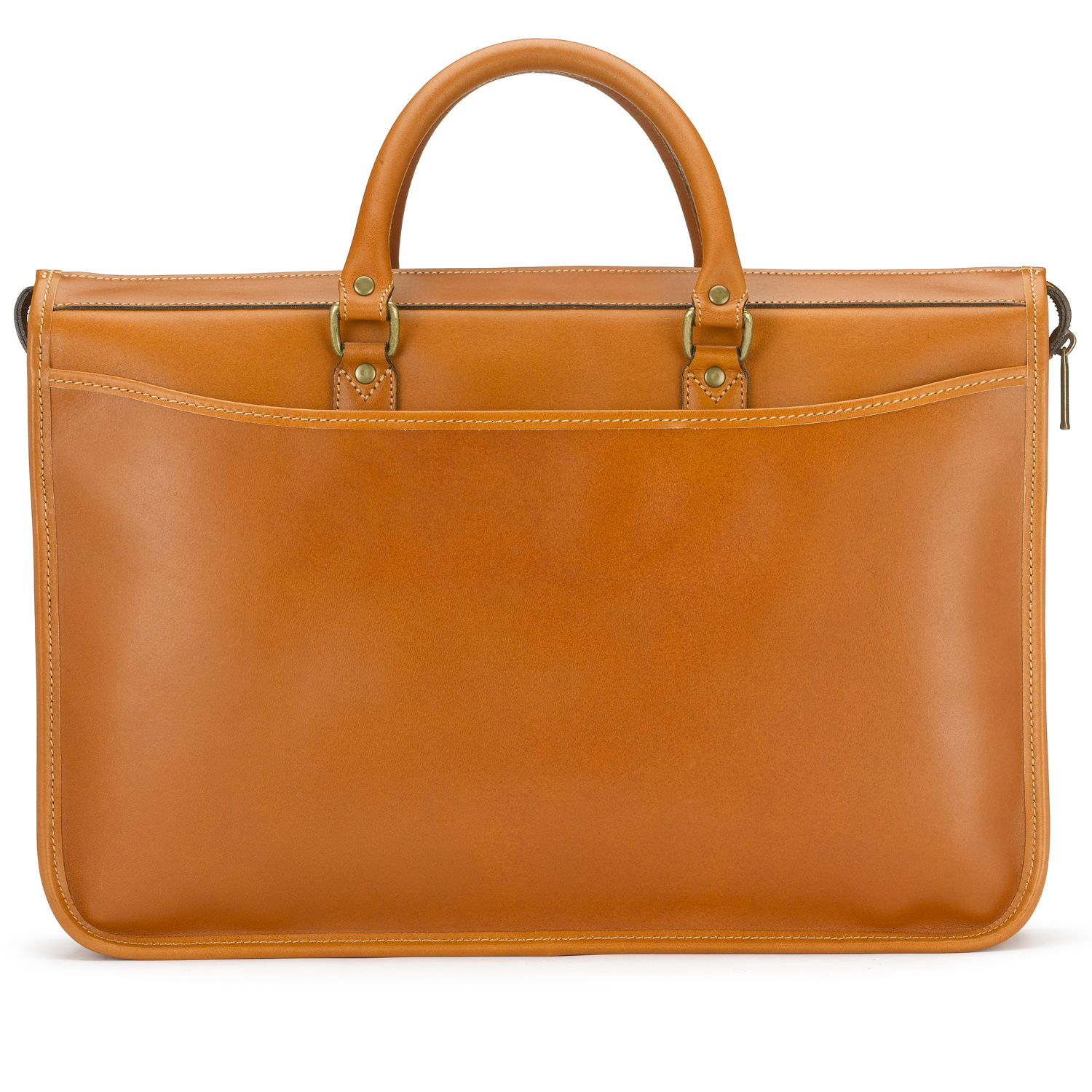 Tusting Marston Leather Briefcase - Large in Tan