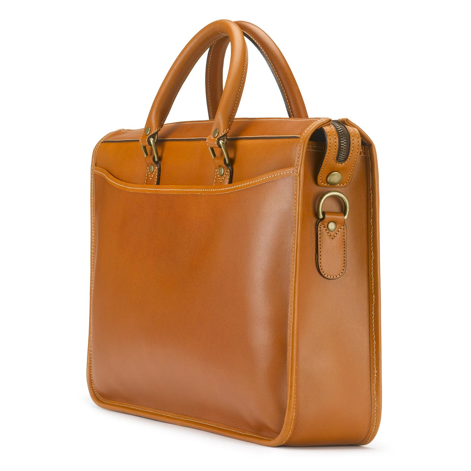 Tusting English-made Leather Briefcase in Tan Leather