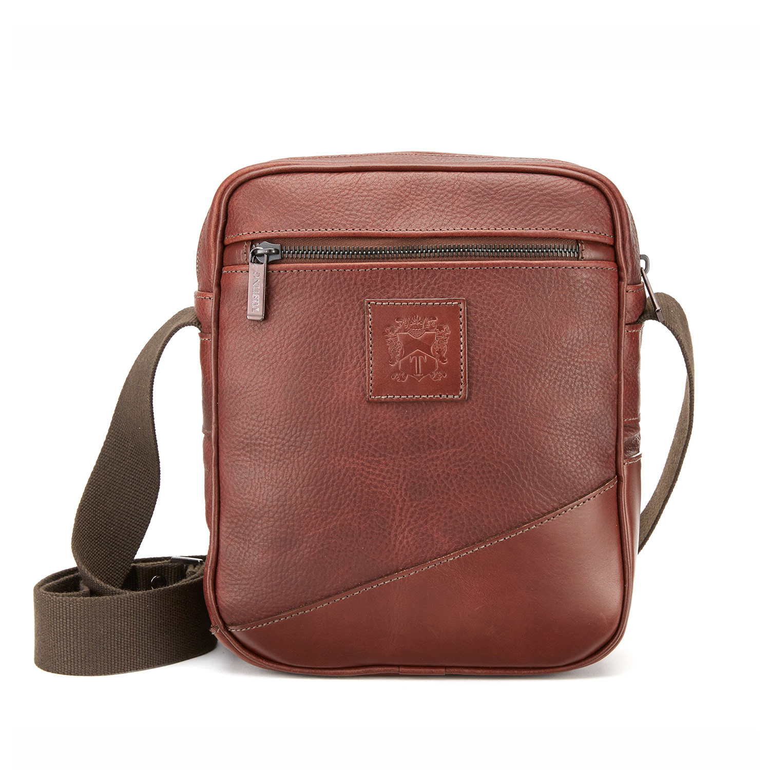 The Tusting Nimrod Mini Messenger Bag for Men in Chestnut Brown Fully Veg-tanned leather. Made in England.