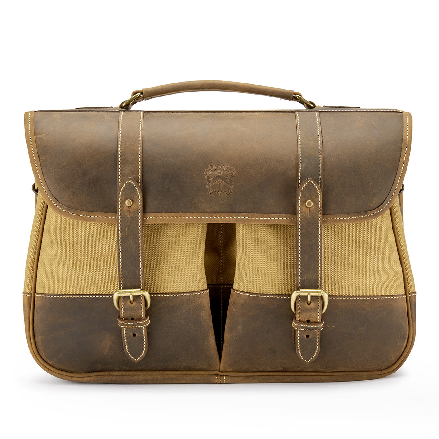 Tusting Clipper in Safari Canvas with Rugged Aztec Leather Trim