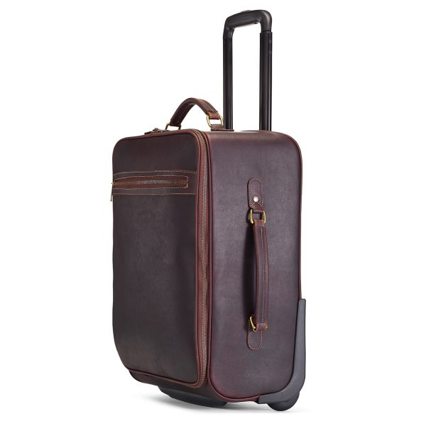 Tusting wheeled leather cabin bag